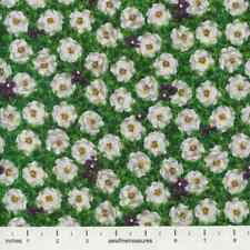 The Wizard of Oz WHITE POPPIES Flowers Poppy Green OOP Fabric By the FQ 1/4 YD