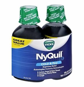 Vicks 44 Nyquil Cold & Flu Nighttime Relief Syrup Original Flavor, 24 oz, 3 Pack