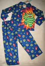 YO GABBA GABBA *Brobee* Navy Flannel Button-up Coat Pajamas Pjs sz 4T