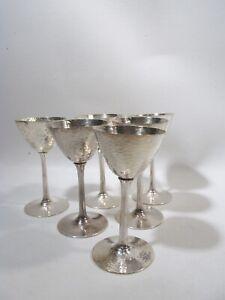 Jazz Age Meriden International Silver Plate Hammered 6 Cocktail Martini Goblets