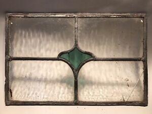 Small Vintage Leaded Stained Glass Window Panel, Deco Style.