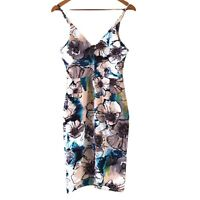 Atmos & Here Women's Bodycon Strappy Floral Stretchy Multicolored  Dress Size 8