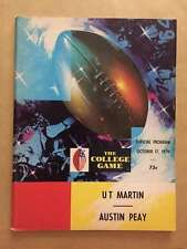 AUSTIN PEAY STATE UNIV  @ UT MARTIN  COLLEGE FOOTBALL PROGRAM 1970 EX