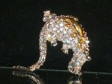 Crystals & Gold Baby On Back b464 New Silvertone Alligator Pin Covered In Clear