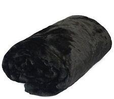 Black Soft Faux Fur Mink Throw Sofa Bed Blanket - XL (200x240cm)