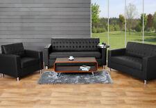 3-2-1 Sofagarnitur Pori, Couch Loungesofa Kunstleder, Metall-Füße, schwarz