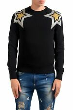 Just Cavalli Men's Star Print Black Crewneck Sweater US M IT 50