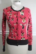 KNITTED DOVE Women's Red Animal Deer Antlers Cardigan Sweater Size XS (sw300