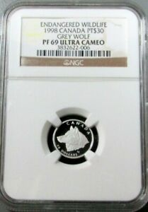 1998 PLATINUM CANADA $30 WILDLIFE GREY WOLF 1325 MINTED NGC PROOF 69 ULTRA CAMEO