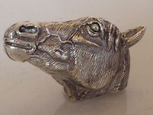 SILVER PLATED COMBINATION VESTA & BOX IN HORSE HEAD FORM