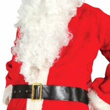 Black Shiny Santa Father Christmas Belt with Gold Buckle Fancy Dress Accessory