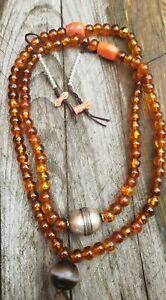 Antique Tibetan Amber Mala prayer Suleimani Red Coral Solid silver bead bracelet