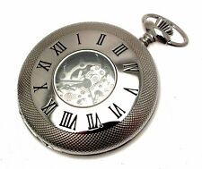 Pocket Watches For Men Silver Pocket Watch Half Hunter with Chain 1199901