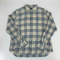 Bonobos Mens Button Down Shirt Size XXL 2XL Blue Plaid Slim Fit Linen Cotton
