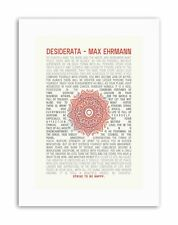 DESIDERATA MANDALA EHRMANN INSPIRATION Poster Typography Quote Canvas art Prints