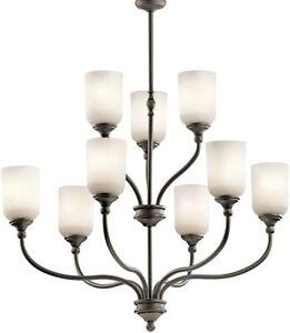 "KICHLER Lilah 9 Light 30"" 2 Tier Chandelier, Olde Bronze 43652OZ NIB Retail $390"