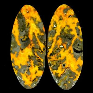 42.40Cts 15X35X5mm 100% Antique Natural Bumble Bee Jasper Oval Pair Cab Gemstone