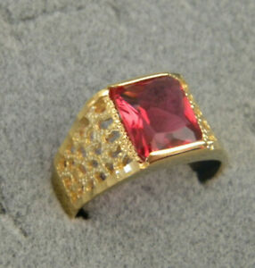 Men's Square Red CZ Stone Yellow Gold Plated Open Filigree Ring Size 12 New