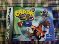 Crash Bandicoot 2 N-Tranced - Authentic - Nintendo Game Boy Advance Manual Only!