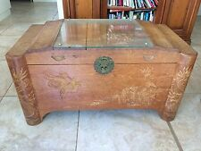 CHINESE BELIEVED ART DECO ? ENGRAVED CAMPHOR CABINET BOX 102cm Wx 51cm Dx 55cm H