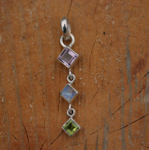 Handmade 925 Sterling Silver Mixed Gemstone Triple Square Pendant Necklace