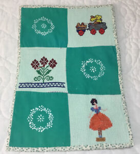 Vintage Patchwork Doll Crib Quilt, Nine Patch Squares, Needlepoint Designs Green