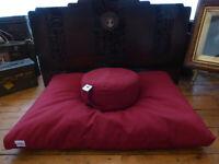 """Calming Breath"" Yoga Meditation Cushion & Zabuton Mat Set - Burgundy / Purple"