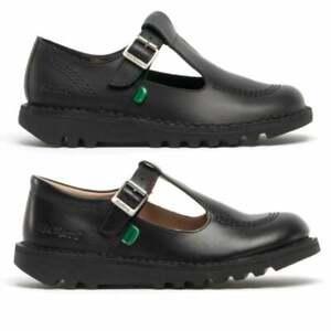 Kickers KICK CORE Womens Ladies Girls Kids Leather Flat T-Bar School Shoes Black