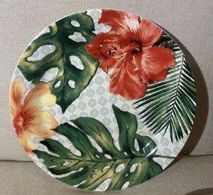 "2 Pier 1 One Imports Dinnerware Tropical Hibiscus Hawaiian 8.75"" Salad Plates"