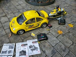 New Bright VW Beetle Bug Yellow 1:6 Scale Sea Doo Jet Ski RC 9.6v RARE Trailer