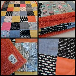 Luxury Handmade Patchwork Friends New York Central Perk Teddy Blanket Throw