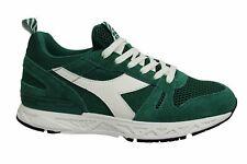 Diadora Titan Reborn Barra Green Leather Lace Up Mens Running Trainers 70264