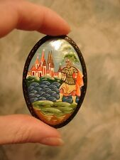 New listing Russian Unique Lacquer Pin Brooch All Hand Painted Fairy Tale Miniature