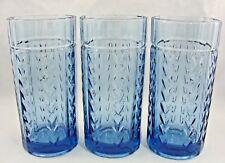 "Anchor Hocking Laurel Wheat Blue Flat Glass Tumbler 6 1/8"" (Set of 3)"