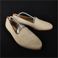 Romano Martegani Loafers Shoes Beige Men's 11.5 Canvas Leather Made in Italy