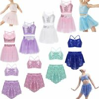 Kids Girls Sequins Leotards Ballet Dress Gymnastics Bodysuit Dance Costumes Suit