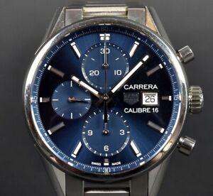 TAG HEUER Watch CARRERA CALIBRE 16 Men's Blue  Automatic  Chronograph