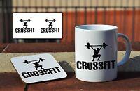 Crossfit Awesome Ceramic Coffee MUG + Wooden Coaster Gift Set