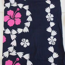 """Hawaiian print sewing quilting fabric 1 3/4 yards x 36"""" blue white pink cotton"""
