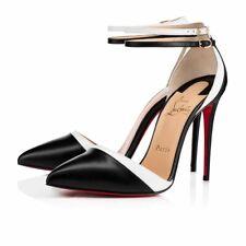 Christian Louboutin Uptown Double 100 Black White Strap Sandal Heel Pump 37.5