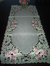 """16""""x54""""Embroidery Tablecloth Spring Rose Organza Table Runner Topper Home Decor"""
