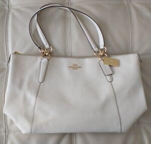 COACH F57526 Ava Tote Cross grain Leather Handbag Chalk