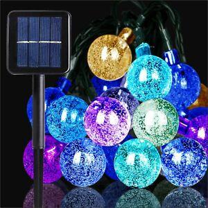 Led Solar Powered String light Outdoor Festoon Ball Garden Fairy Lights Decor
