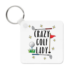 Crazy Golf Lady Keyring Key Chain - Funny Mum Mother's Day