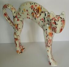 HAND PAINTED GLAZED CERAMIC WHITE/RED/ORANGE/BLACK ARCHED CAT