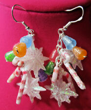 Unique Gumdrops,Snowflake, CANDY 925 EARRINGS CHRISTMAS Handcrafted nora winn