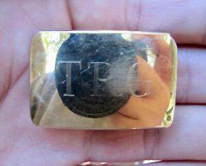 Vtg BALLOU Belt Buckle BAB Monogram Fashion 14k GOLD Overlay RARE VG+