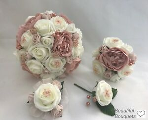 wedding bouquets rose gold ivory brides flowers posy bridesmaid flower girl wand