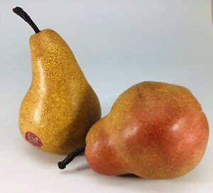 Artificial Decorative Faux Fruit Resin Pears Realistic Set Of 2
