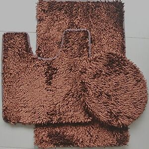 3 PIECE SHINY SOFT PADDED CHENILLE SHAG BATH RUG, CONTOUR RUG AND LID COVER SET